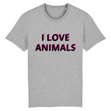 tshirt vegan eco homme i love animals gris