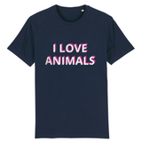 tshirt vegan eco homme i love animals bleu