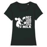 T shirt vegan femme vache not your milk  noir