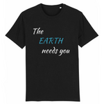 the earth needs you tshirt vegan noir