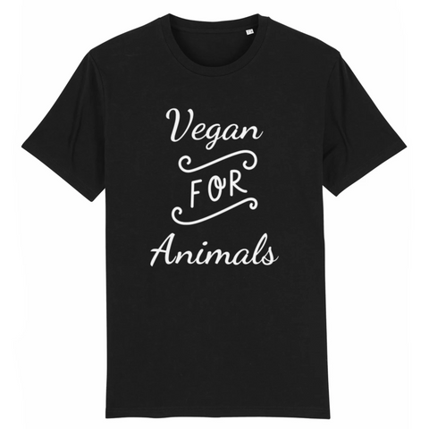 for animals tshirt vegan noir