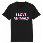 tshirt vegan eco homme i love animals noir