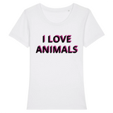 vegan t shirt i love animals femme blanc
