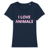 vegan t shirt i love animals femme bleu