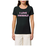 vegan t shirt i love animals femme