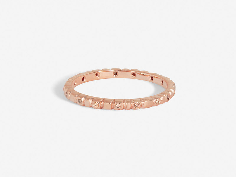 Rose Gold Soleil Stack Ring with Champagne Diamonds