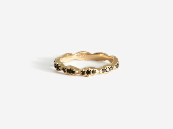 Shaesby Wave Stack Ring with Black Diamonds
