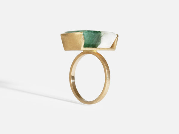 Shaesby 14k Gold Emerald and Quartz Ring