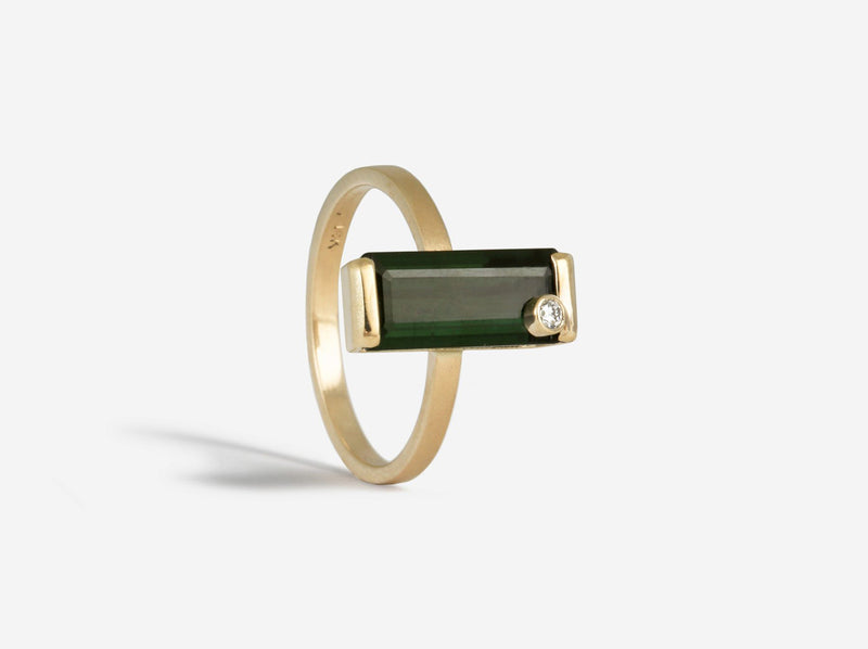 Shaesby Green Tourmaline Ring with Diamond Accent
