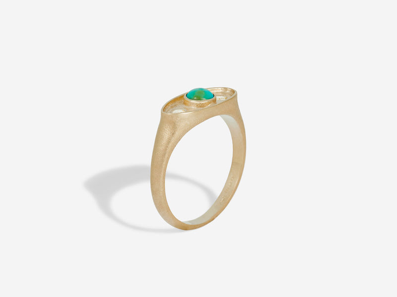 Profile 3/4 view Shadow Ring in 14k Yellow Gold with Turquoise