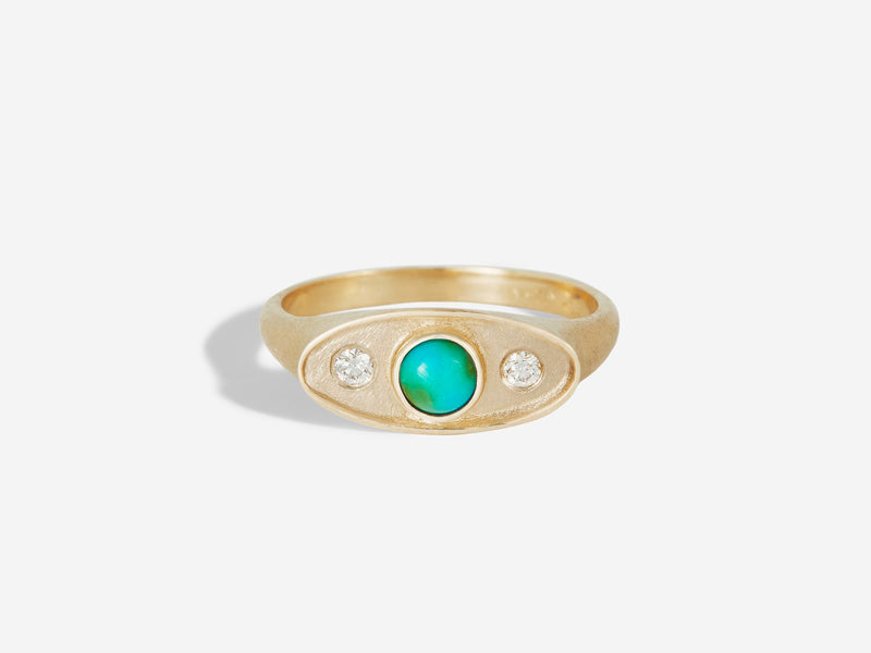 Front view Shadow Ring in 14k Yellow Gold with Turquoise