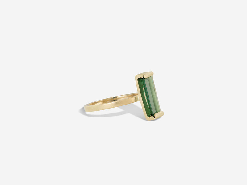 Vertical Blue-Green Tourmaline and 14k Ring
