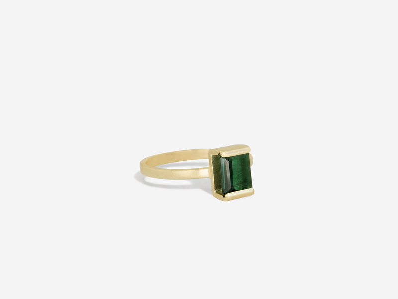 North to South Green Tourmaline 14k Ring