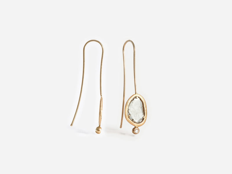 Shaesby Diamond Slice Drop Earring with Bling