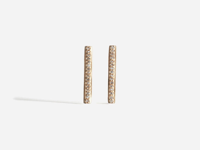 Shaesby Pave Diamond Bar Stud