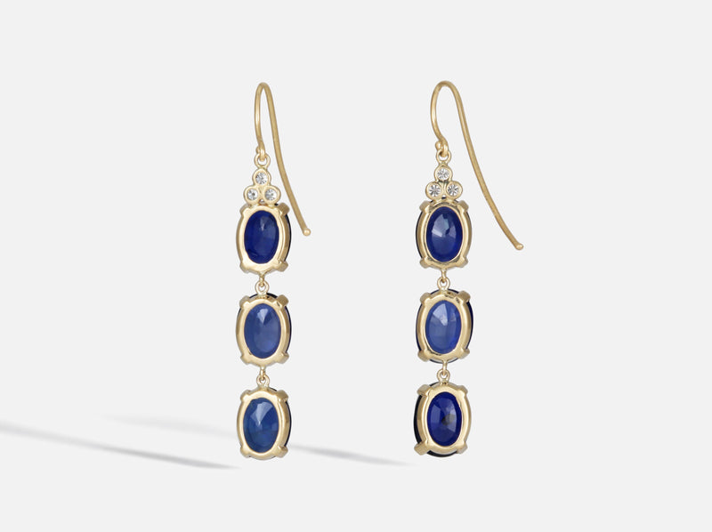 Shaesby Blue Sapphire and Diamond Drop Earrings