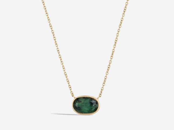 Shaesby 14k Gold and Emerald Necklace