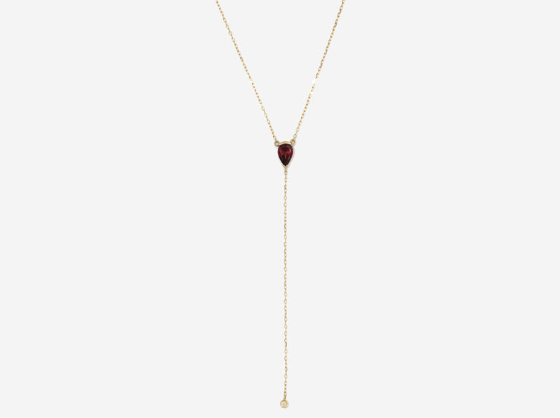 Shaesby 14k Gold and Garnet Y-Necklace