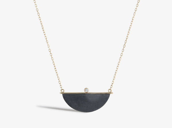 Shaesby Half Moon Pendant with Diamond