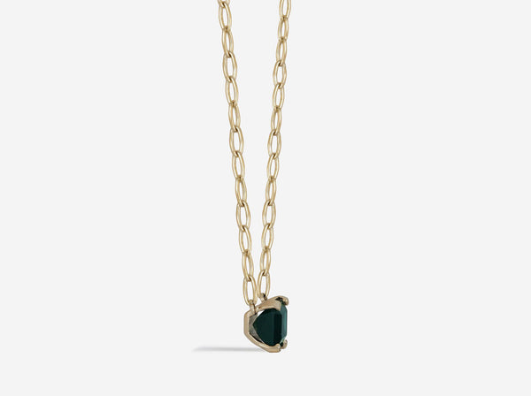 Shaesby Green Tourmaline Pendant on Wide Oval Chain