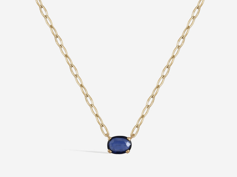 Shaesby 14k Gold Blue Sapphire Necklace