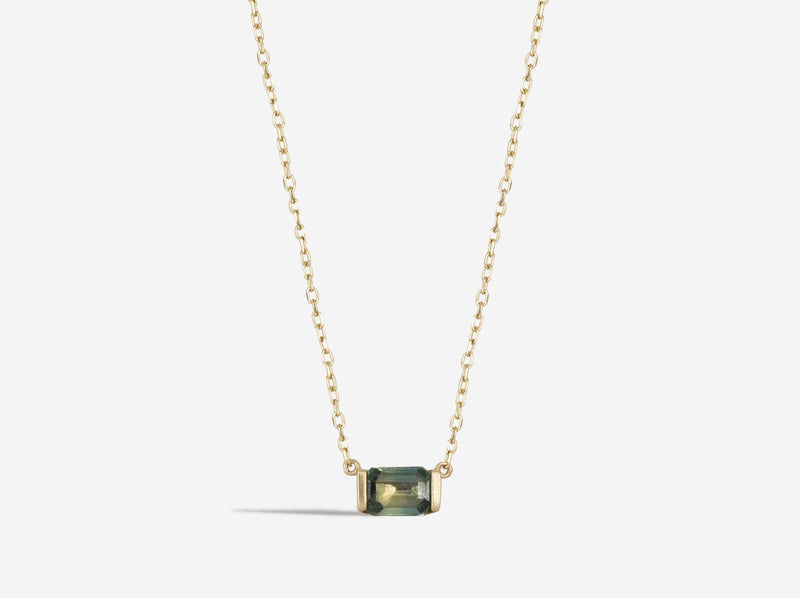 Shaesby 14k Gold Grey Sapphire Necklace