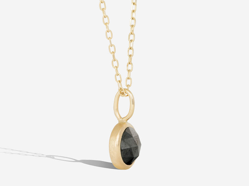 Limited Edition Rose Cut Black Diamond Bezel Pendant Necklace