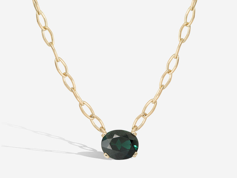 Oval Green Tourmaline and 14k Pendant