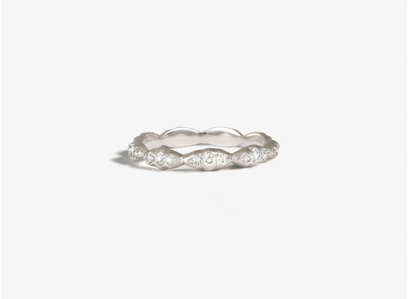Shaesby Wave Stack Ring with White Diamonds