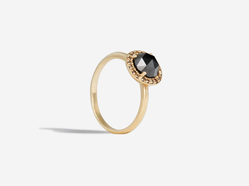 Shaesby Limited Edition Black Diamond Rose Cut Engagement Ring
