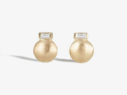 Shaesby Small Round Stud with Baguette Diamond Accent