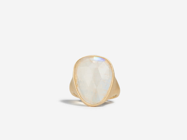 One of a Kind Elongated Rainbow Moonstone Ring