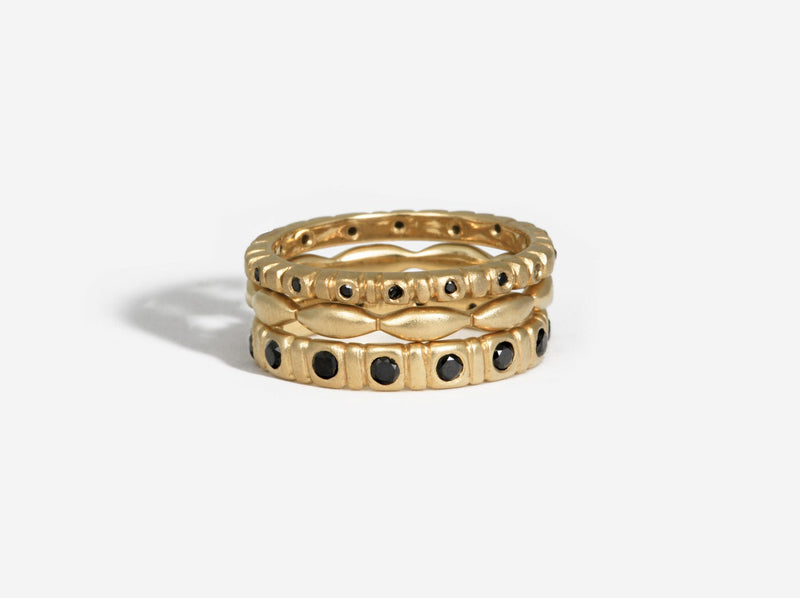 Shaesby Soleil Stack Ring with Black Diamonds