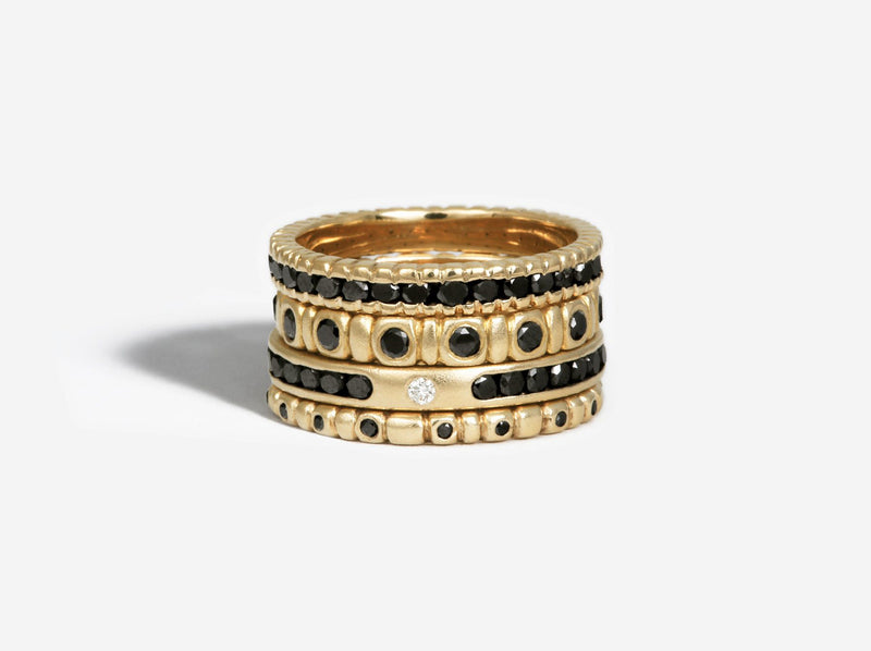 Shaesby Channel Set Black Diamond Ring with Accent