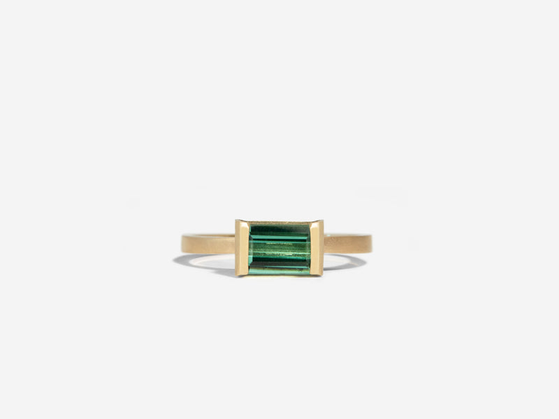 East to West Green Tourmaline Ring