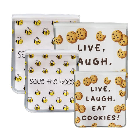 NEW!! Reusable 4-Piece Gallon and Quart Storage Bags Set - Save the Bees & Eat Cookies