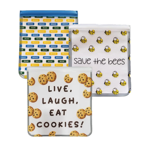 Reusable 3-piece Quart Storage Bag Set - Save the Bees, Eat Cookies, Reduce/Reuse/Recycle