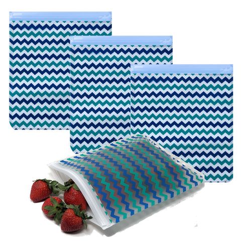 Ziparoos Reusable 4-Piece Quart Size Freezer Bags Earth Friends Design Chevron