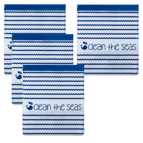 Reusable 4-Piece Quart Freezer Bags Set- Clean the Seas