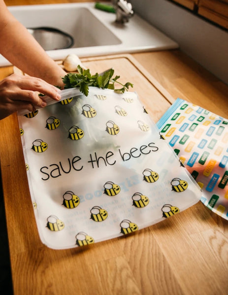 NEW!!! Reusable 4 - piece Gallon and Quart Storage Bag Set - Save the Bees & Reduce/Reuse/Recycle