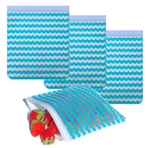 Reusable 4-Piece Quart Freezer Bags Set- Nautical Waves