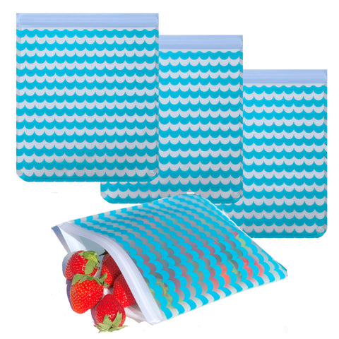 Ziparoos Reusable 4-Piece Quart Size Freezer Bags Nautical Waves Design