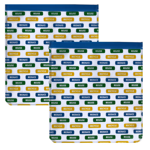 Ziparoos Reusable 2-Piece Gallon Size Freezer Bags Earth Friends Design Reduce Reuse Recycle