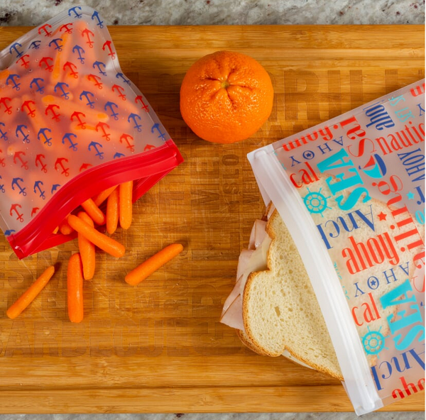 Reusable 5-Piece Sandwich and Snack Bags Set- Eco Friendly- Nautical