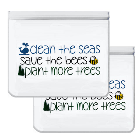 Reusable 2-Piece Extra-Large Sandwich (Quart) Freezer Bags Set- Seas, Bees and Trees