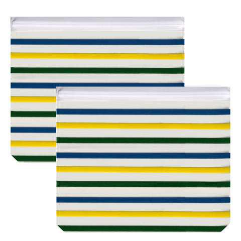 Reusable 2-Piece Extra-Large Sandwich (Quart) Freezer Bags Set- Stripes