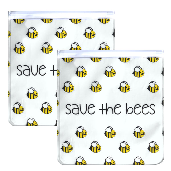 Ziparoos Reusable 2-Piece Gallon Size Freezer Bags Earth Friends Design Save the Bees