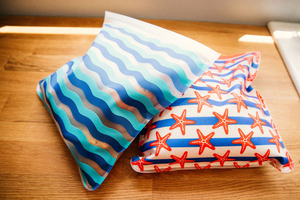 Reusable 2-Piece Gallon Freezer Bags Set- Nautical