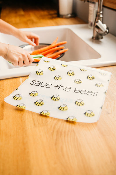Ziparoos Reusable 4-Piece Gallon Size Freezer Bags Earth Friends Design Save the Bees keeps food and produce fresh with airtight zipper lock