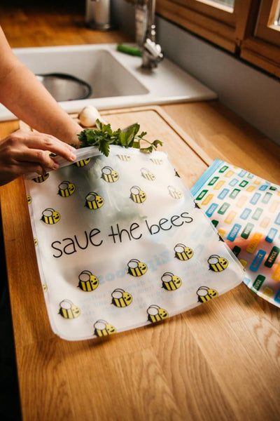 Ziparoos Reusable 2-Piece Gallon Size Freezer Bags Earth Friends Design Save the Bees helps keep food fresh with airtight design